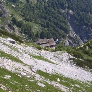 Blick auf die Toni-Lenz Hütte