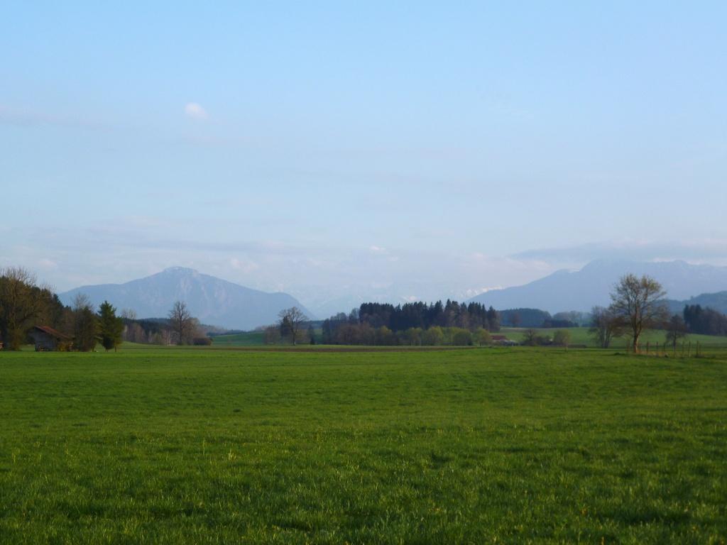 Herrlicher Blick von der Bank am Wegkreuz auf die Alpen. (Monika Heindl)