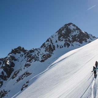 Am oberen Endes des Zufritt Ferners, Im Hintergrund der Gipfel der Zufrittspitze