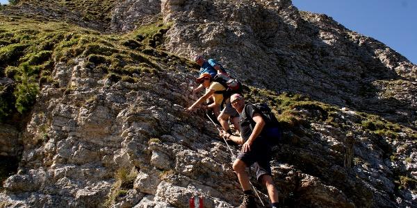 kurze, gesicherte Passage beim Abstieg zum Streichkopfgatterl