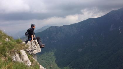 Pause nach der Via Ferrata Monte Due Mani.