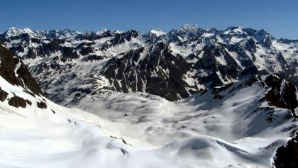Ausblick über die gesamte Aufstiegsroute.