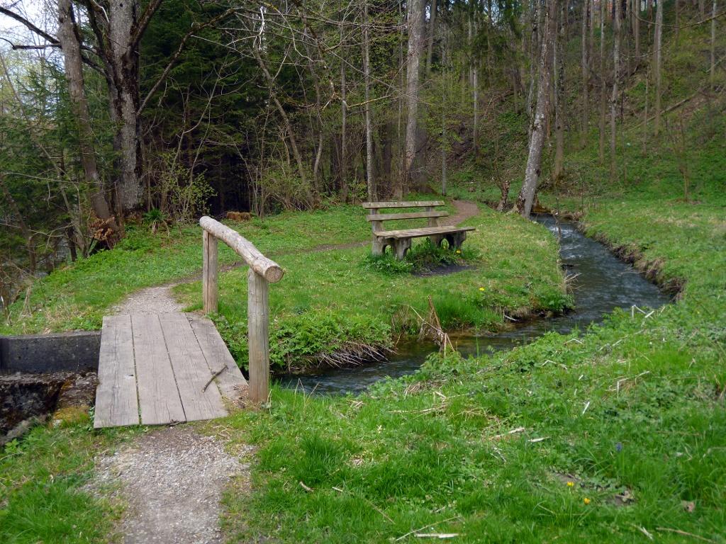 Der idyllische Fußweg führt entlang des Neuhausbachs aus Steingaden hinaus. (Monika Heindl)