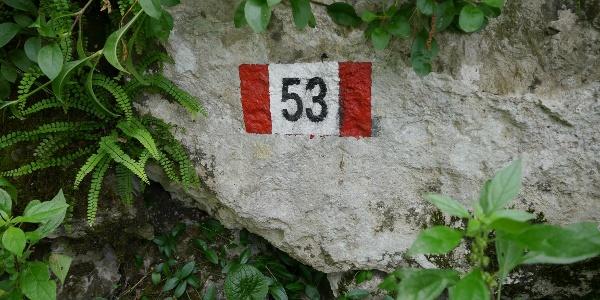 """Wegemarkierung Aufstieg """"53"""""""