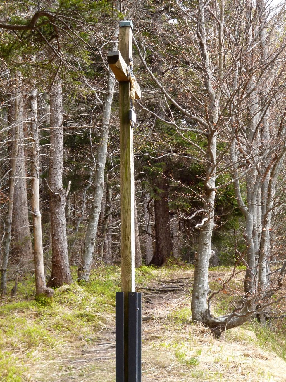 Kreuz auf einer kleinen Lichtung am steilen Weg zwischen der Ammer und dem Schnalz-Gipfel. (Monika Heindl)