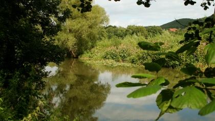 Die Fränkische Saale mäandert bei Aura und Euerdorf in weiten Schleifen durch die beiden Ortschaften.