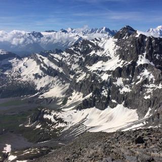 Col des paresseux, vue vers Mont Blanc