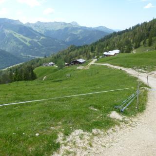 Blick auf Kögelalm und Karwendel