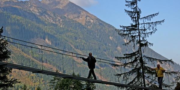 """50 m steel rope bridge crossing the """"Höll"""" gorge"""