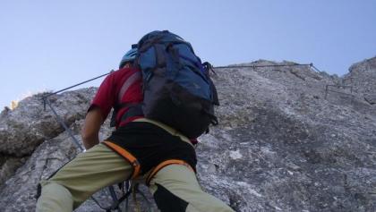 Aufstieg am Pidinger Klettersteig.