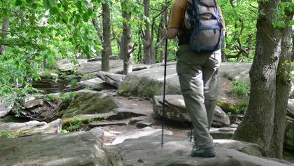 Wir bahnen uns den Weg durch das Felsenmeer an der Kalmit.