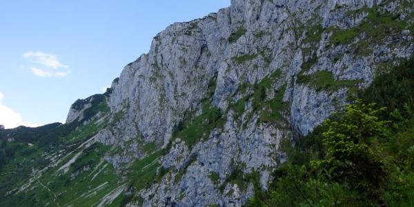 Der Abstieg zur Tutzinger Hütte bietet schöne Einblicke in die gewaltige Nordwand