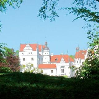 Weiß leuchten die Mauern und Türmchen von Schloss Boitzenburg.