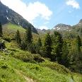 Der Zirbenwald lichtet sich und gibt eine herrliche Landschaft am Fuße des Habicht frei.