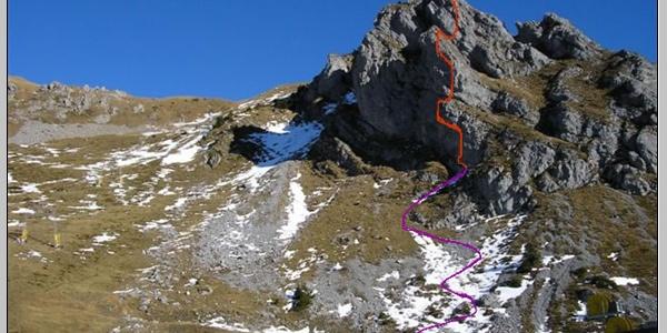 Routenverlauf des Zittergrat-Klettersteiges am Brunnistöckli oberhalb von Engelberg