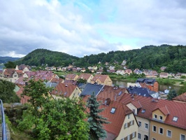 Foto Blick auf die Stadt Wehlen vom Hausberg aus