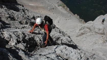 Aufstieg im Klettersteig