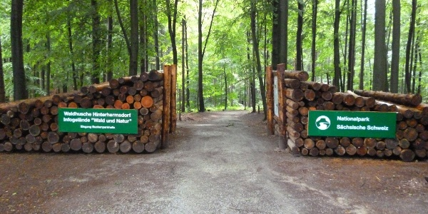Haupteingang zur Waldhusche an der Buchenparkhalle