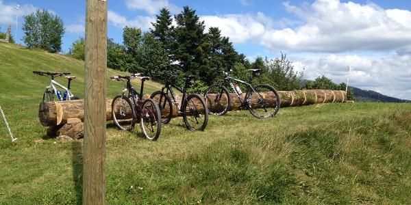 Fahrradparkplatz auf dem Kälbelescheuer für die Gäste der Alm Gaststätte