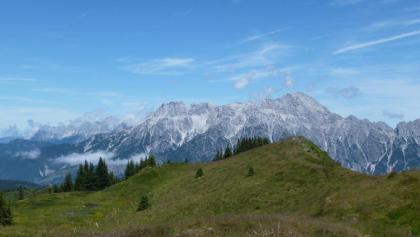 Entlang des Kammes zurück zum Ausgangspunkt. Immer im Blick: Die Leoganger Steinberge mit dem Birnhorn (2634m)