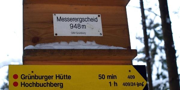 Abzweigtafel Messer Gscheid 848m