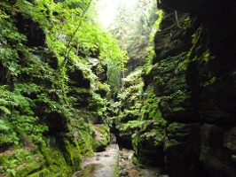 Foto Das Uttewalder Felsentor erscheint zwischen den gigantischen Felsen besonders klein