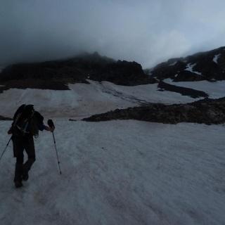 Aufstieg am Gletscher zur Rinne