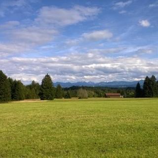 Weiter Blick in Richtung Allgäuer Alpen