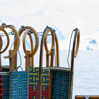 Schlitten vor der Alpe