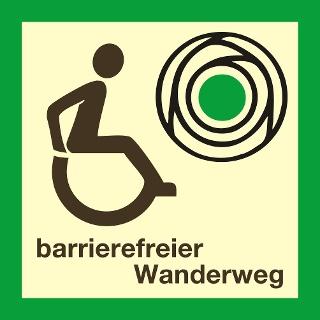 Logo barrierfreier Wanderweg (Wegweiser)