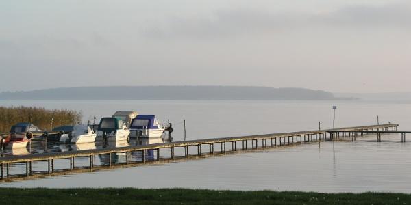 Einer der zahlreichen Bootsstege am Plauer See.