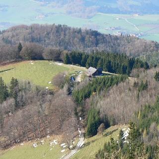 Blick hinunter zur Grünburger Hütte