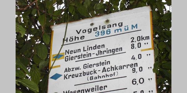 """Das Wegzeichen """"Blaue Raute auf gelbem Grund"""" begleitet uns auf unserer Tour über den Vogelsangpass."""
