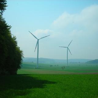 Blick auf die Windräder.