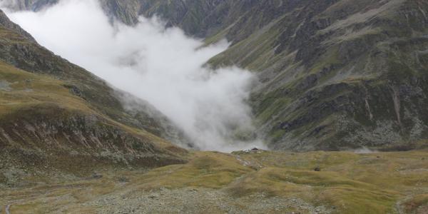 Blick vom Gleirschjöchl zur Pforzheimer Hütte