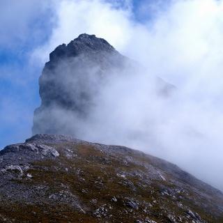 Kl. Solstein 2637 m, noch nebelverhüllt