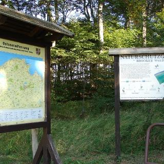 Infotafeln zum Küsten-Radweg und Naturschutzgebiet Brook.