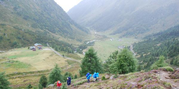 Anstieg oberhalb der Schweinfurter Hütte
