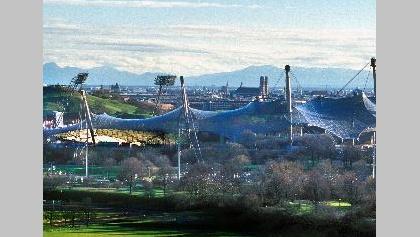 """Der Münchener Olympiapark. Ziel des """"Laufs der guten Hoffnung"""""""