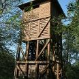 """Vom Aussichtsturm """"Moorochse"""" hat man einen schönen Blick auf die ehemaligen Torfstiche und die Kormorankolonie."""