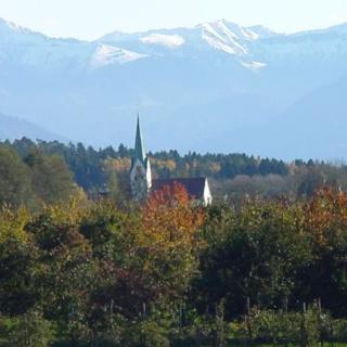 Die St. Pelagiuskirche erhebt sich hoch über Oberreitnau.