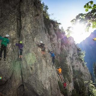 Einstieg Klettersteig Rongg Wasserfall