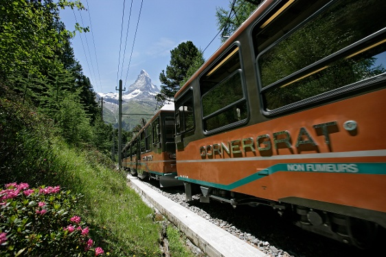 Ride on the Gornergrat Bahn cog railway to the start of the hike