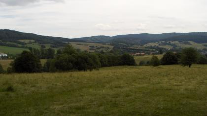 Von der Bank am Waldrand genießen wir eine schöne Aussicht.