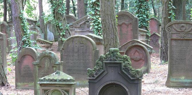 Die alten Grabsteine auf dem jüdischen Friedhof sind zum Teil reich verziert.