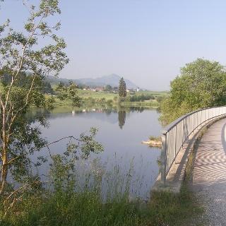Wir blicken über den Rottachsee auf Petersthal.