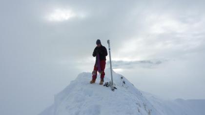 Güntlespitze Gipfel im Winter