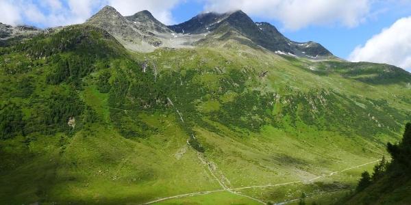 Links unten die Obere Seebachalm, in der Bildmitte die Fleischbachspitze
