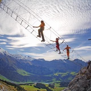 Im Zittergrat-Klettersteig am Brunnistöckli oberhalb von Engelberg