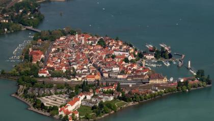 Blick von oben auf die Lindau-Insel.